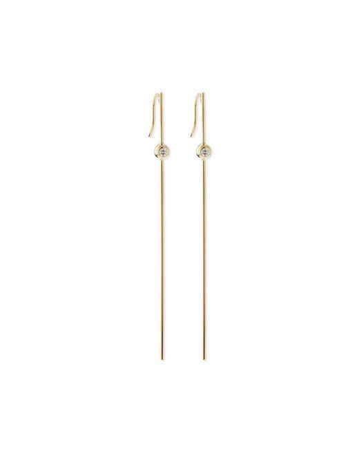 Mizuki | Metallic 14k Gold Long Bar Earrings With Diamonds | Lyst
