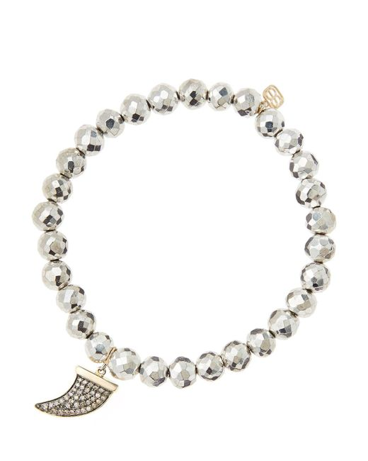 Sydney Evan | Metallic 6mm Faceted Silver Pyrite Beaded Bracelet With 14k Gold/diamond Medium Horn Charm (made To Order) | Lyst