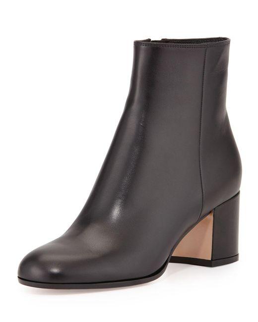Gianvito Rossi | Black Vitello Leather Ankle Boots | Lyst