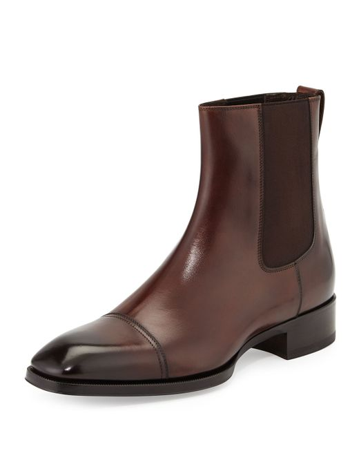 tom ford gianni leather chelsea boots in brown for lyst