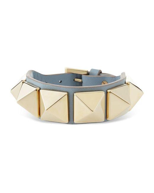 Valentino   Metallic Medium Rockstud Leather Bracelet   Lyst
