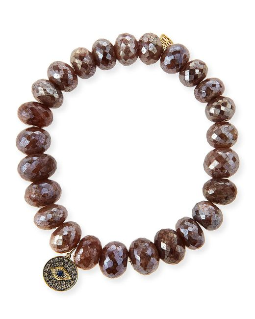 Sydney Evan | 8mm Faceted Brown Silverite Beaded Bracelet With 14k Diamond Evil Eye Disc Charm | Lyst