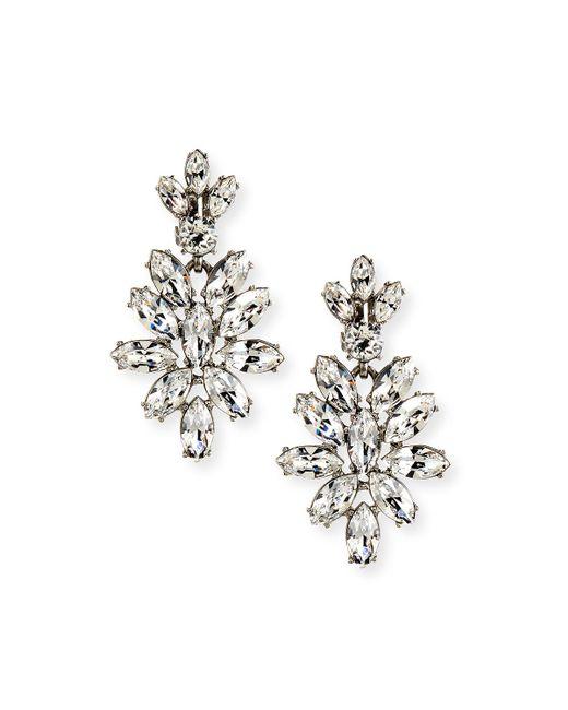 Oscar de la Renta | Metallic Navette Crystal Drop Clip Earrings | Lyst