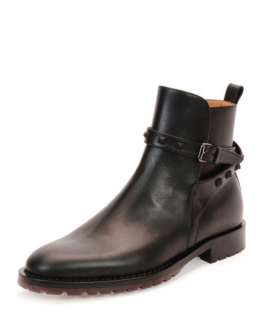 Valentino | Black Leather Platform Ankle Boots | Lyst