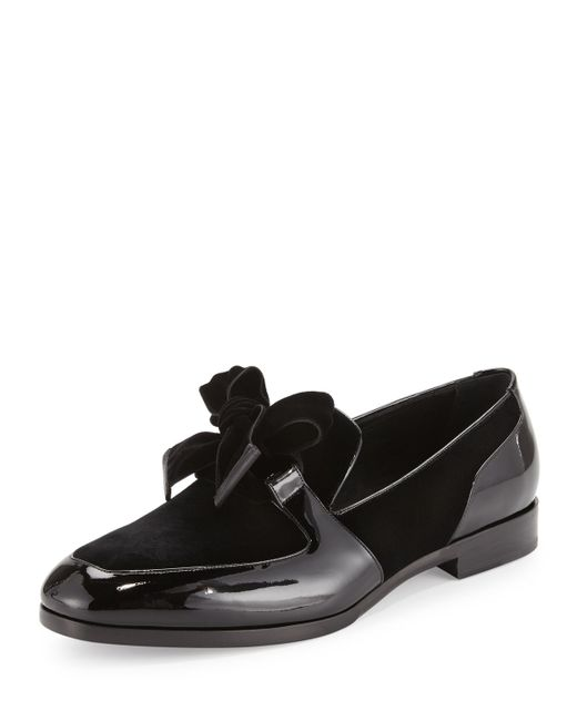 Men S Patent Leather Loafer With Bow Formal Shoe