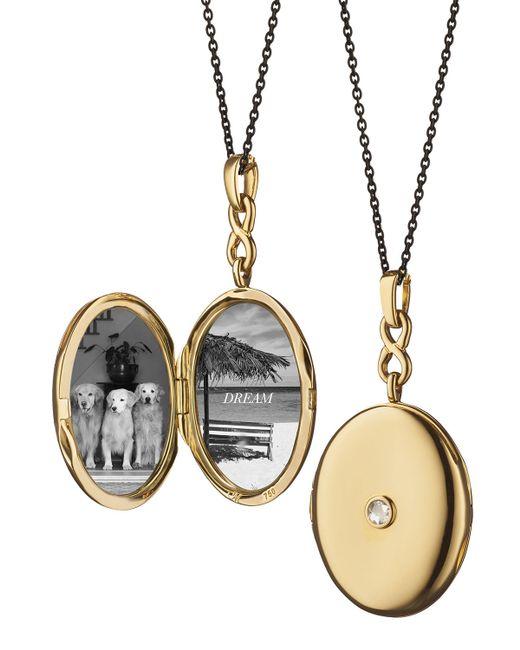 Monica Rich Kosann | Metallic 18k Gold Locket Necklace With Diamond Center | Lyst