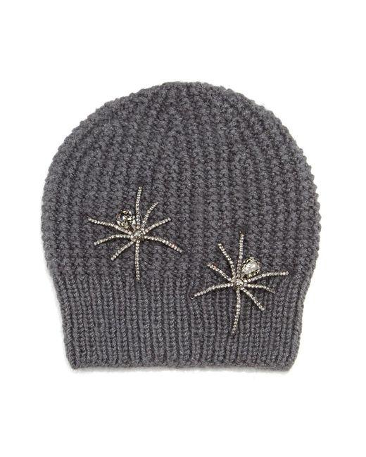 Jennifer Behr | Gray Double Crystal Spider Knit Beanie Hat | Lyst