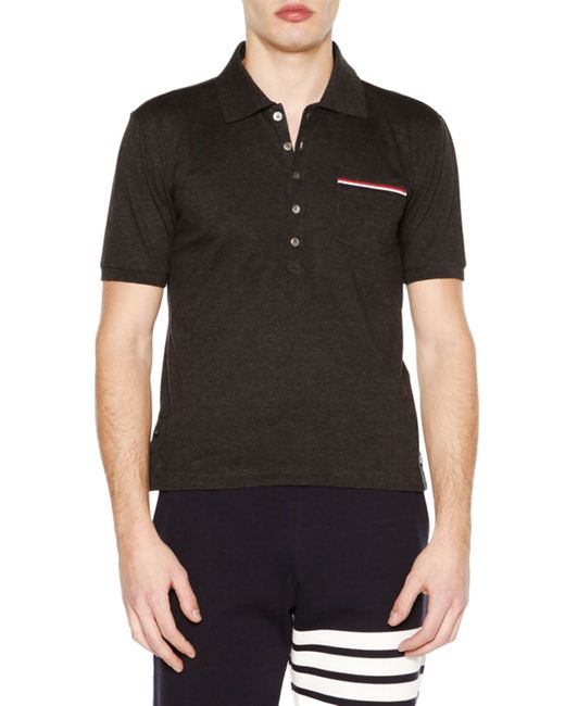 Thom Browne Short Sleeve Pique Polo Shirt In Brown For Men
