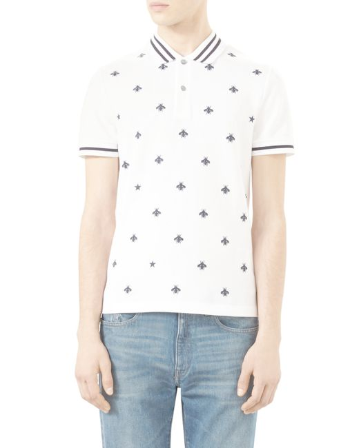 Gucci bee embroidered polo shirt in white for men lyst
