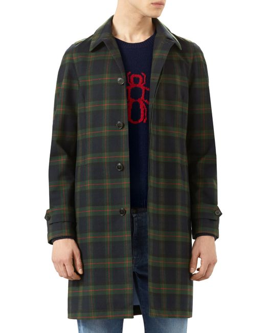 Gucci | Green Plaid Rabbit-embroidered Topcoat for Men | Lyst