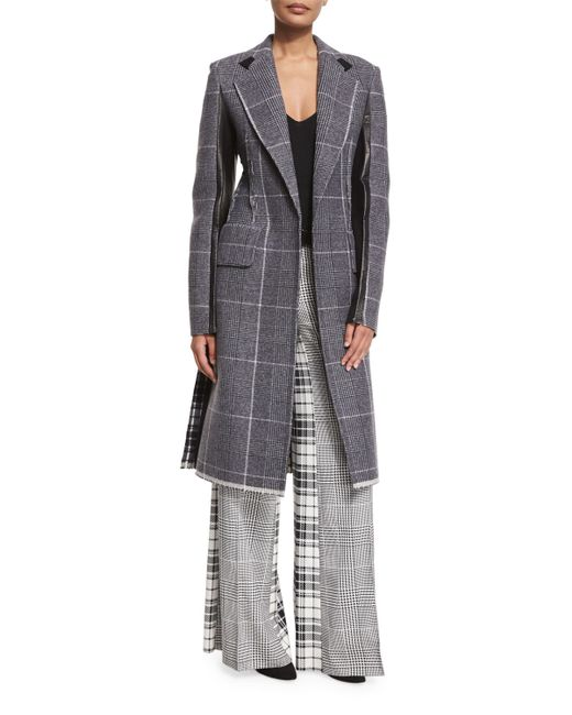 Calvin Klein | Black Mixed-plaid Wool Coat W/leather Trim | Lyst