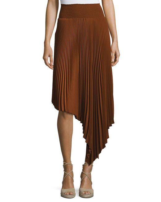 A.L.C. | Black Sofia Asymmetric Pleated Midi Skirt | Lyst