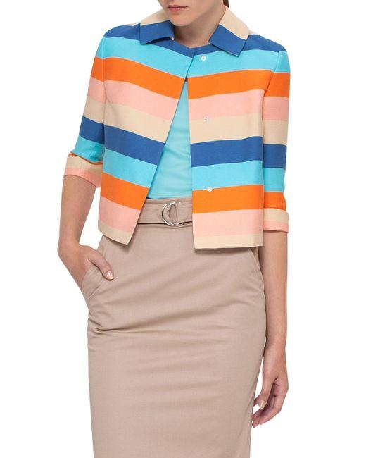 Akris Punto | Blue Striped Sateen 3/4-sleeve Jacket | Lyst