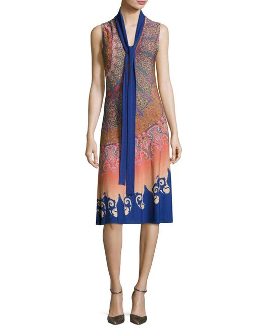 Etro | Blue Marrakech Paisley Silk Sleeveless Dress With Scarf | Lyst