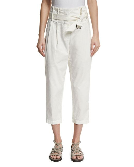 Brunello Cucinelli | White Belted Paperbag-waist Ankle Pants | Lyst