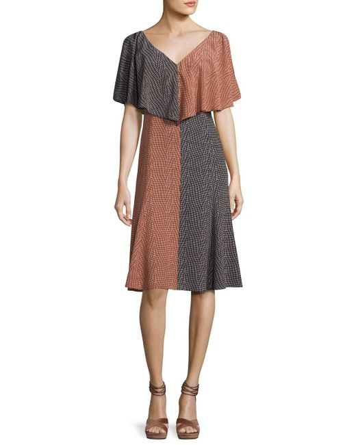 Derek Lam   Black Bicolor Handkerchief-top Silk Midi Dress   Lyst