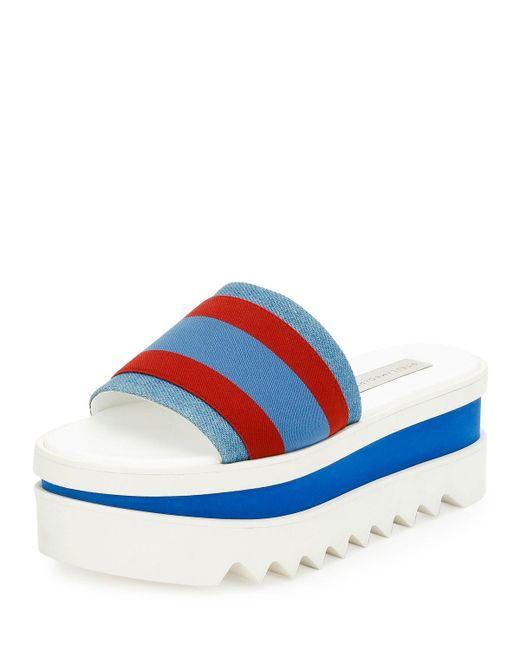 Stella McCartney | Blue Striped Fabric Platform Slide Sandal | Lyst