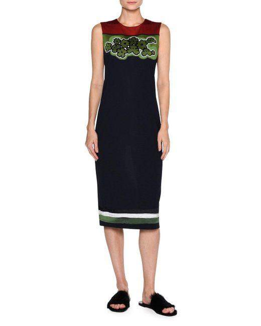Tomas Maier | Blue Floral-yoke Sleeveless Sheath Dress | Lyst