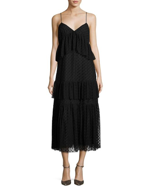 Robert Rodriguez | Black Sleeveless Polka-dot Lace Tiered Dress | Lyst
