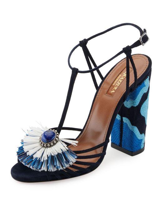 Aquazzura | Blue Samba Raffia T-strap 105mm Sandal | Lyst