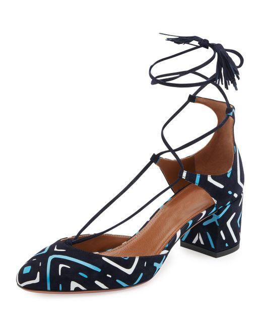 Aquazzura | Blue Boheme Printed Suede Block-heel Pump | Lyst