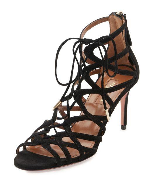 Aquazzura | Black Ivy Lace-up Suede 75mm Sandal | Lyst