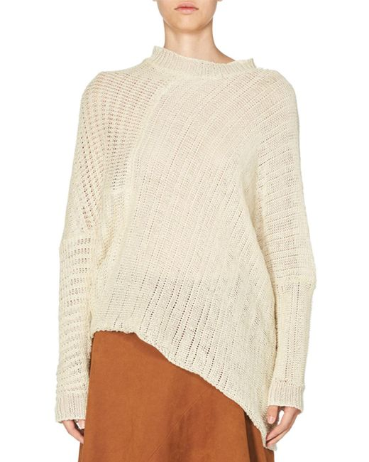 Stella McCartney | White Asymmetric Open-weave Sweater | Lyst