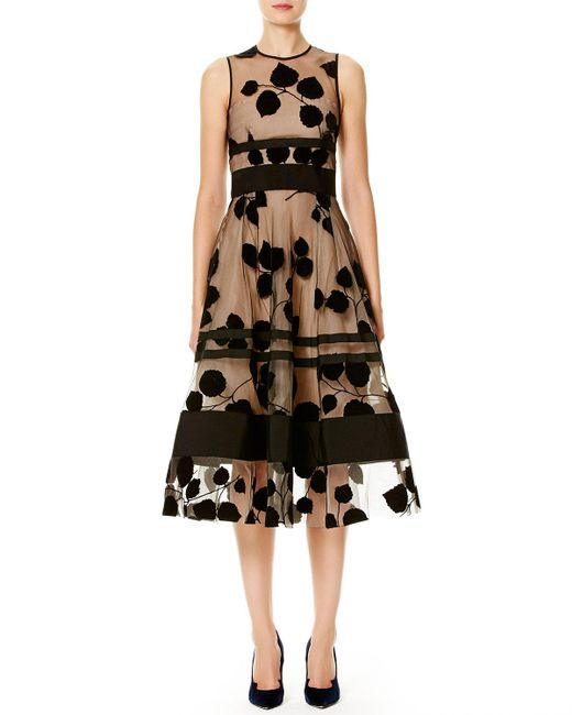 Carolina Herrera | Black Leaf-embroidered Flocked Velvet Dress | Lyst
