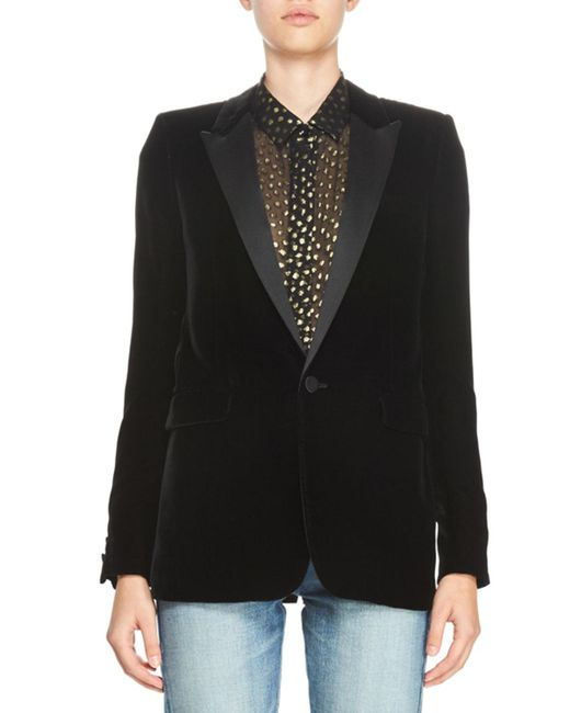 Saint Laurent | Black Velvet One-button Blazer | Lyst