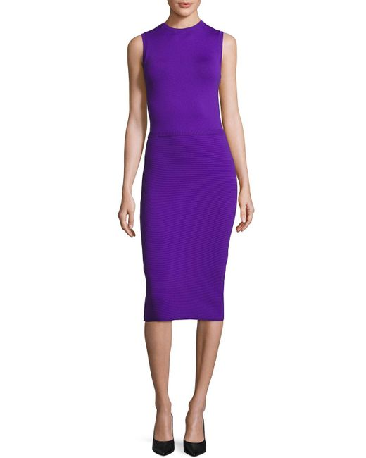 Ralph Lauren Collection | Purple Sleeveless Ottoman-skirt Sheath Dress | Lyst