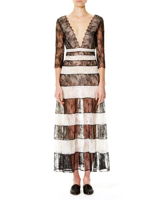 Carolina Herrera | Multicolor Striped Lace 3/4-sleeve Gown | Lyst
