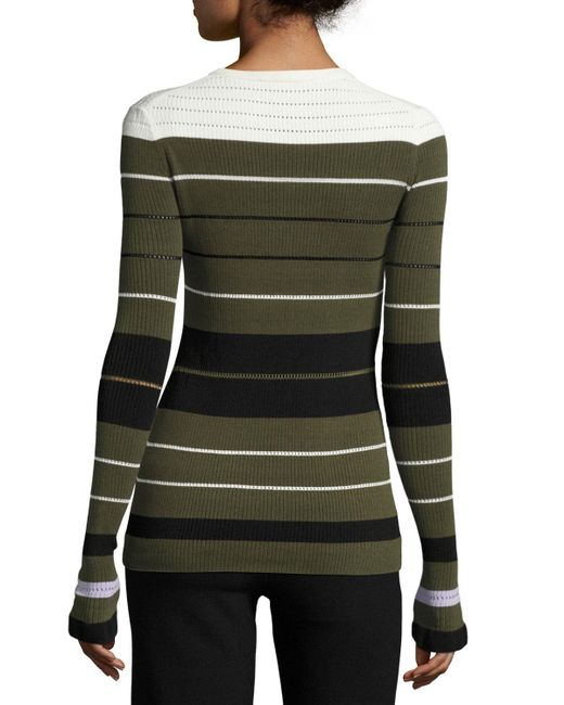 Opening Ceremony Striped Ribbed Crewneck Pullover Sweater