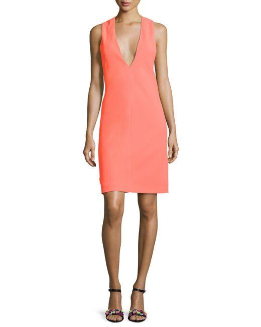 Narciso Rodriguez | Orange Deep-armhole V-neck Shift Dress | Lyst