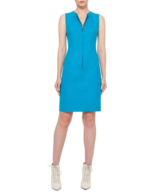 Akris   Blue Reversible Sleeveless Zip-front Sheath Dress   Lyst