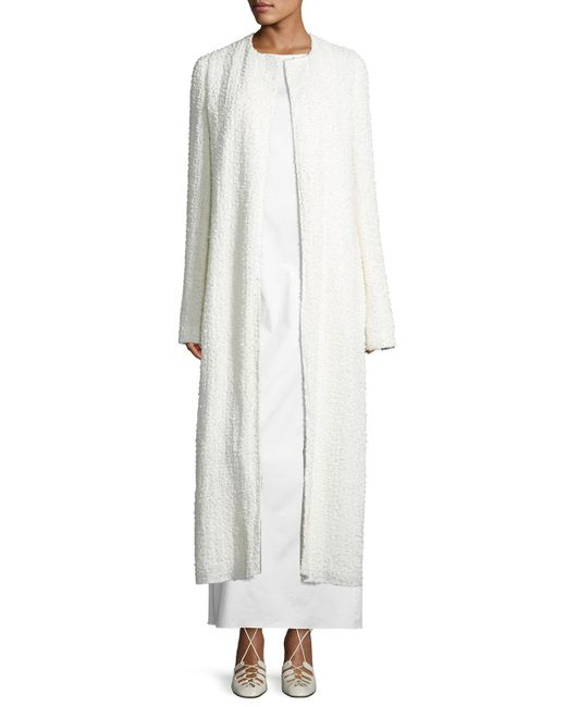 The Row | White Pamie Boucle Long Coat | Lyst