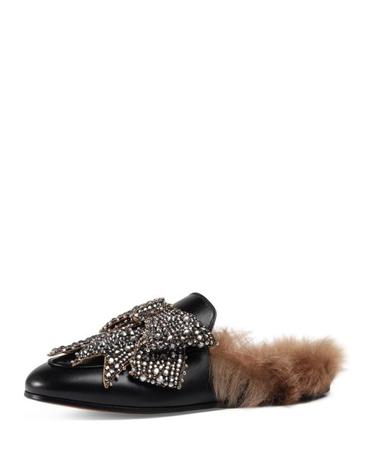 Gucci Princetown Bow Fur Lined Mule In Black Save 48 Lyst