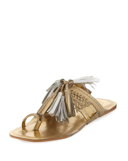 Figue | Metallic Scaramouche Leather Tassel Sandal | Lyst