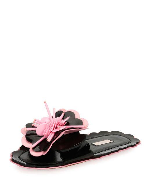 Miu Miu | Pink Patent Flower Flat Slide Sandal | Lyst
