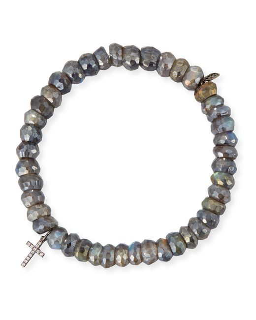 Sydney Evan | Multicolor 8mm Labradorite Beaded Bracelet With Diamond Cross Charm | Lyst