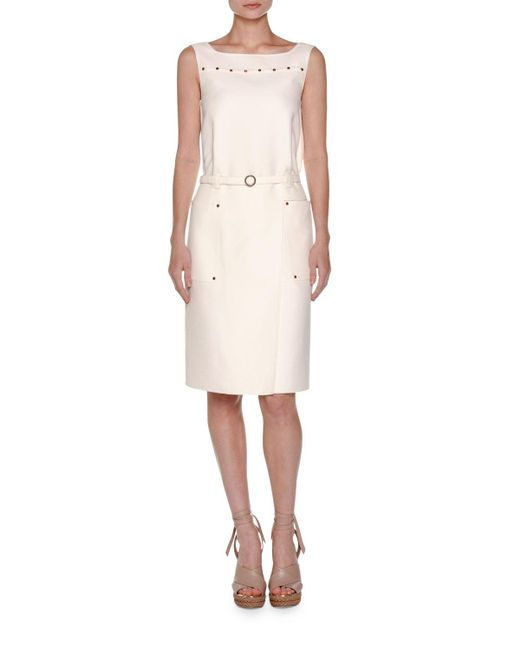 Agnona | White Cabochon-trim Sleeveless Dress | Lyst