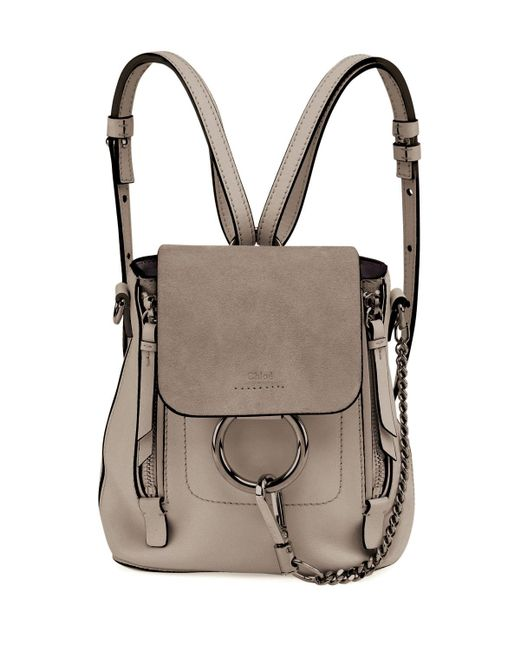 chlo faye mini leather backpack in gray lyst. Black Bedroom Furniture Sets. Home Design Ideas