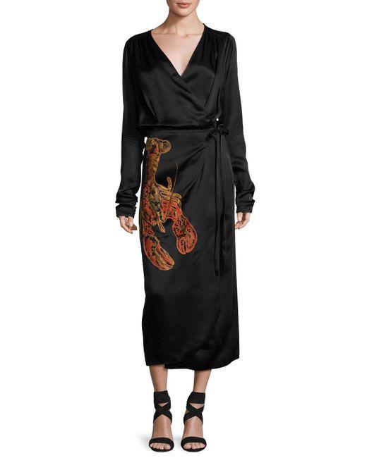 Attico | Black Lobster-beaded Satin Midi Wrap Dress | Lyst