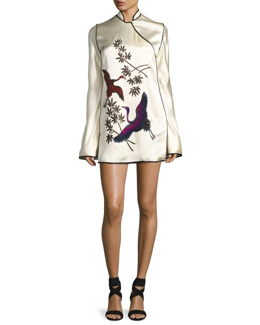 Attico   White Embroidered Satin Mandarin-collar Dress   Lyst