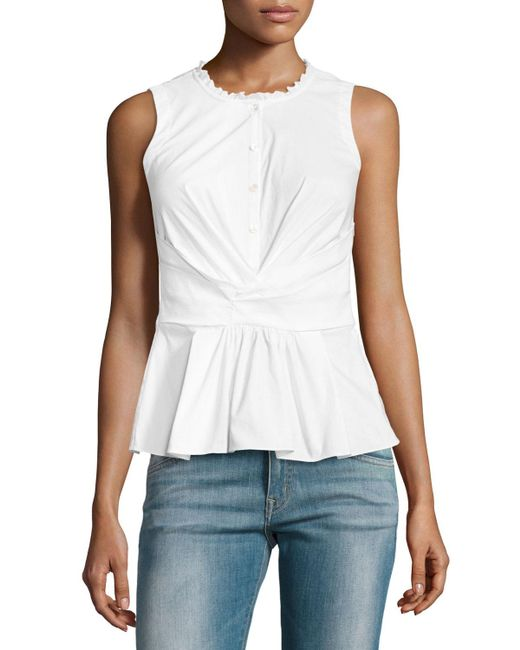 Rebecca Taylor | White Sleeveless Poplin Crossover Top | Lyst