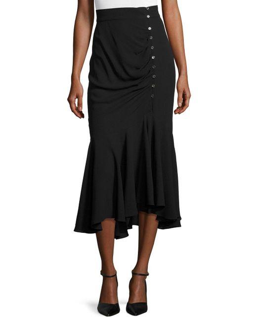 Michael Kors | Black Draped Side-button Midi Skirt | Lyst