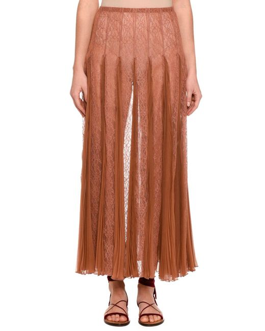 Valentino | Natural Pleated Chiffon Lace Maxi Skirt | Lyst