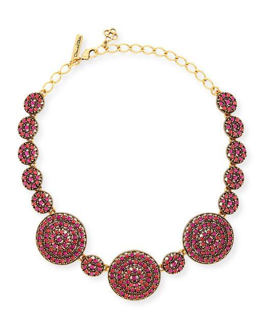 Oscar de la Renta | Pink Crystal Disc Statement Necklace | Lyst