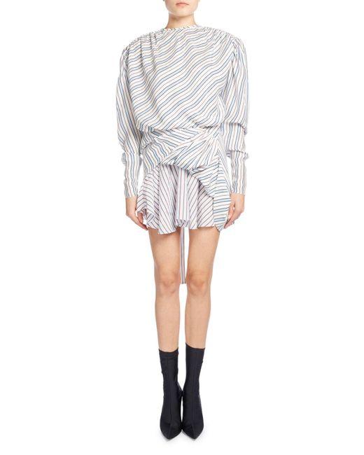 Balenciaga | White Ruched College Stripe Jacquard Dress | Lyst