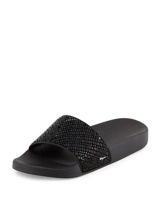 Ferragamo | Black Groove Crystal Slide Sandal | Lyst