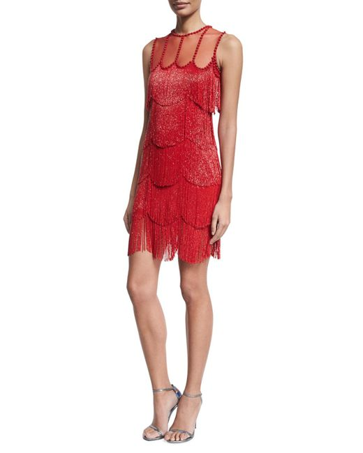 Naeem Khan | Red Beaded Fringe Sleeveless Cocktail Dress | Lyst